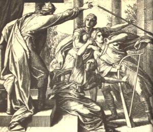 """Saul Tries to Kill David"" by Julius Schnorr von Karolsfeld, 1850's, Wikimedia Commons"