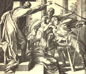 """Saul Tries to Kill David"" by Julius Schnorr von Karolsfeld, 1850's, Wikimedia Commons"