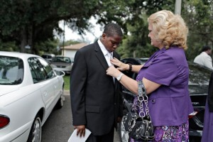 15-year-old Davion Only with his caseworker Credit:  Tampa Bay Times